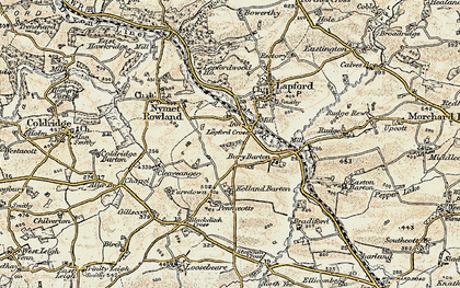 Old map of Lapford Cross in 1899-1900
