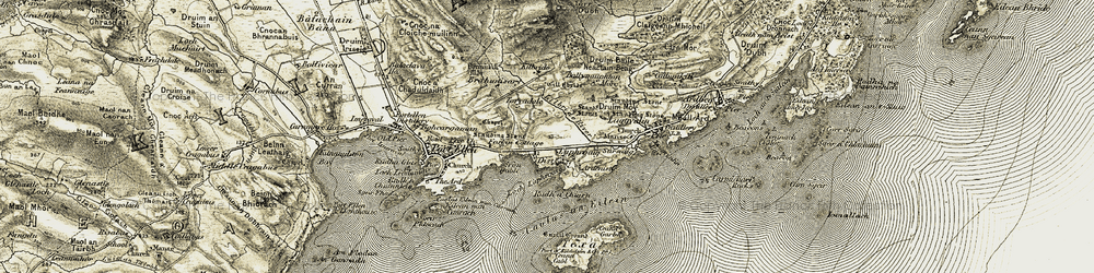Old map of Laphroaig in 1905-1906