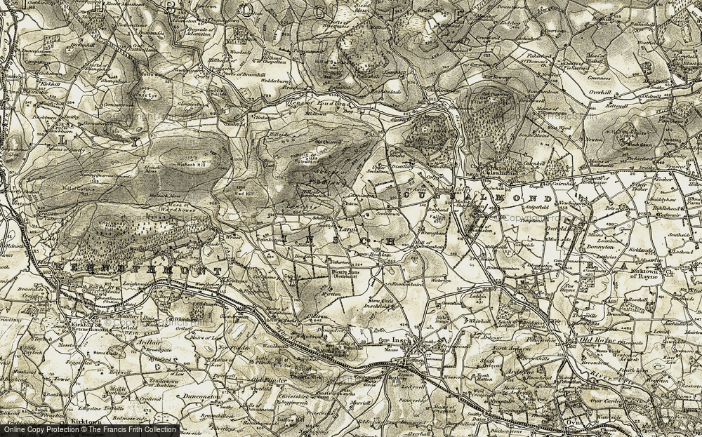 Old Map of Historic Map covering Lenchie in 1908-1910