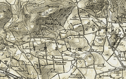 Old map of Largie in 1908-1910