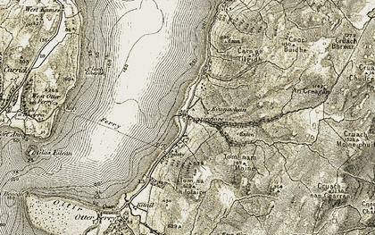 Old map of Largiemore Burn in 1906-1907