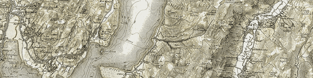 Old map of Tom nam Mòine in 1906-1907