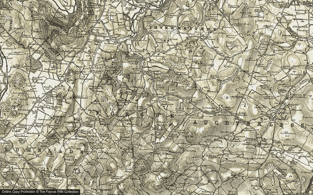 Old Map of Historic Map covering Auchaber in 1908-1910