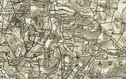 Old map of Whin Burn in 1908-1910