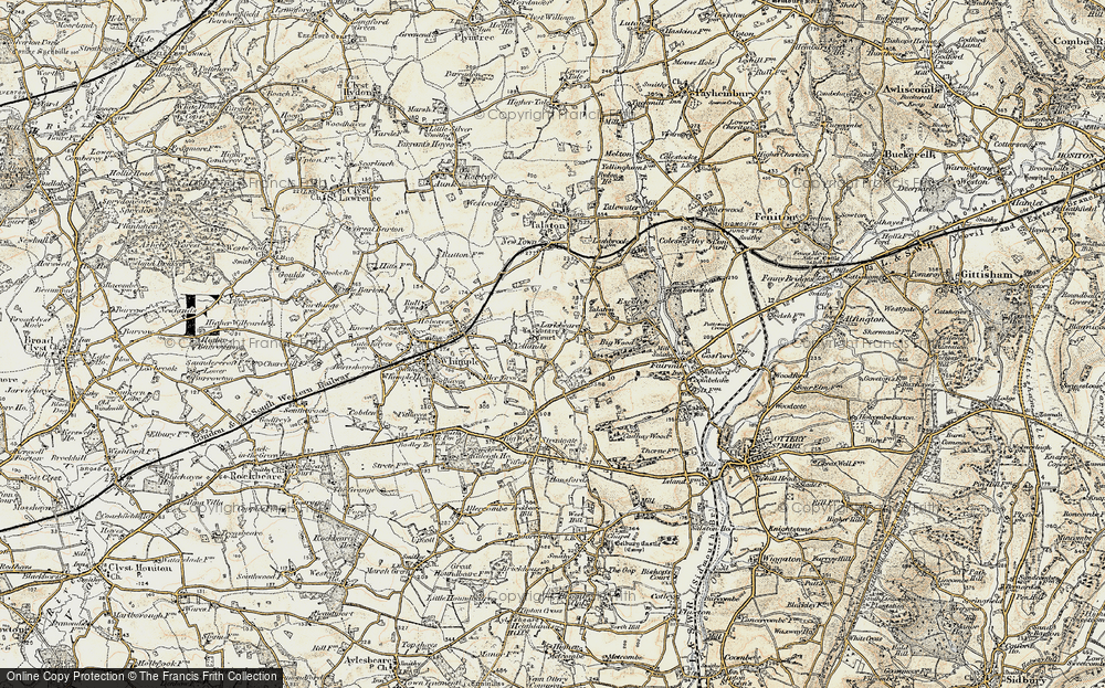 Old Map of Historic Map covering Larkbeare Court in 1898-1900