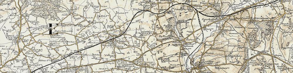 Old map of Larkbeare Court in 1898-1900