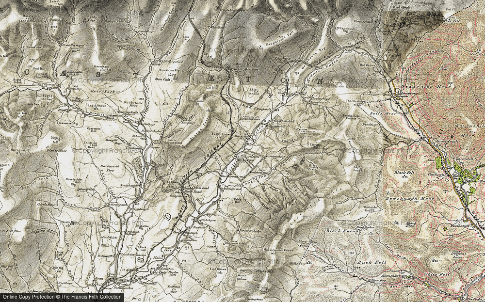 Old Map of Historic Map covering Leysburnfoot in 1901-1904