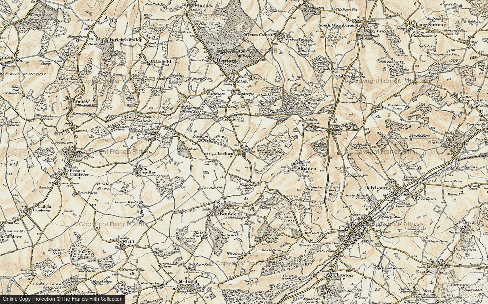 Old Map of Historic Map covering Lasham Wood in 1897-1900
