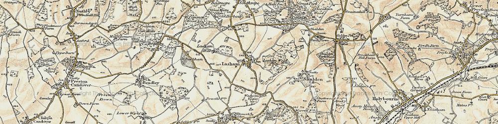 Old map of Lasham in 1897-1900