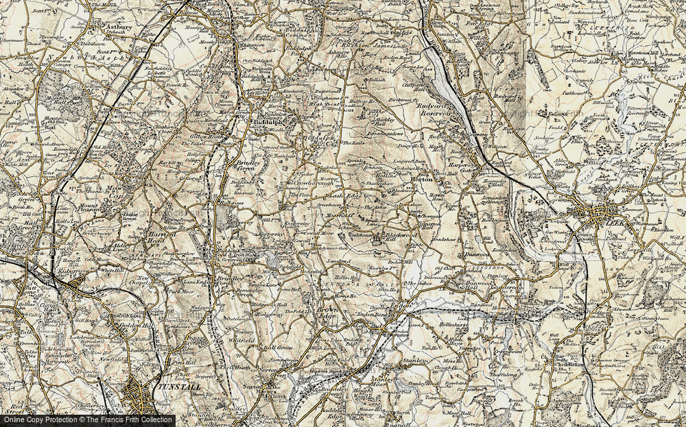 Old Map of Historic Map covering Lanehead in 1902-1903