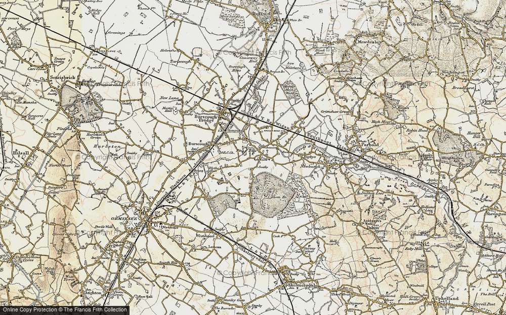 Old Map of Historic Map covering Lathom Ho in 1902-1903