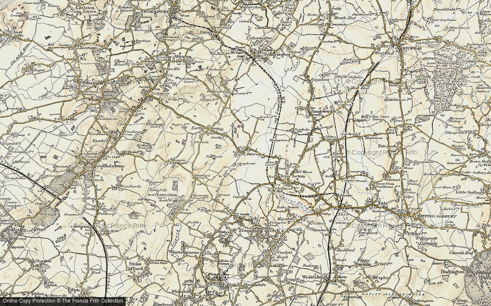 Old Map of Historic Map covering Latteridge Hill in 1899