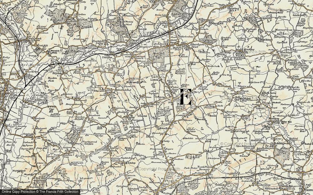 Old Map of Latton Bush, 1898 in 1898