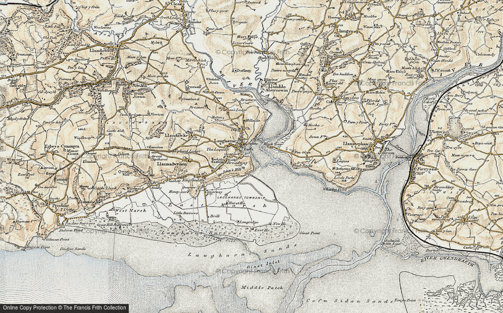 Old Map of Historic Map covering Laques-fawr in 1901