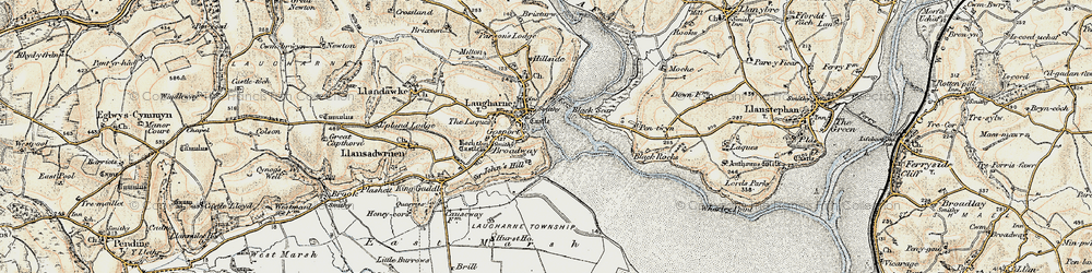 Old map of Laugharne in 1901