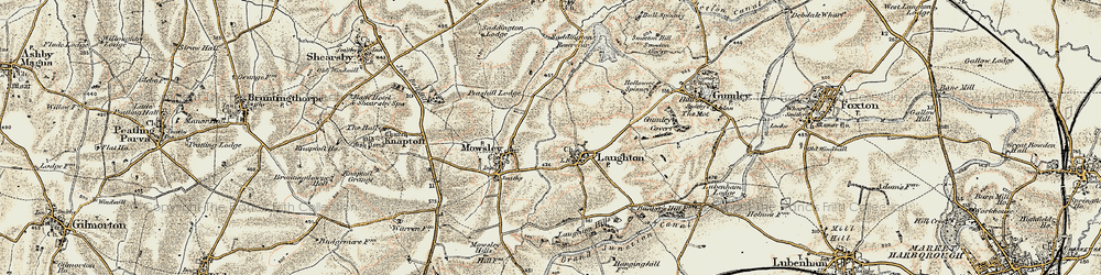 Old map of Laughton in 1901-1902