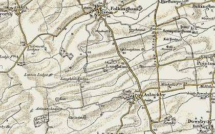 Old map of Laughton in 1902-1903