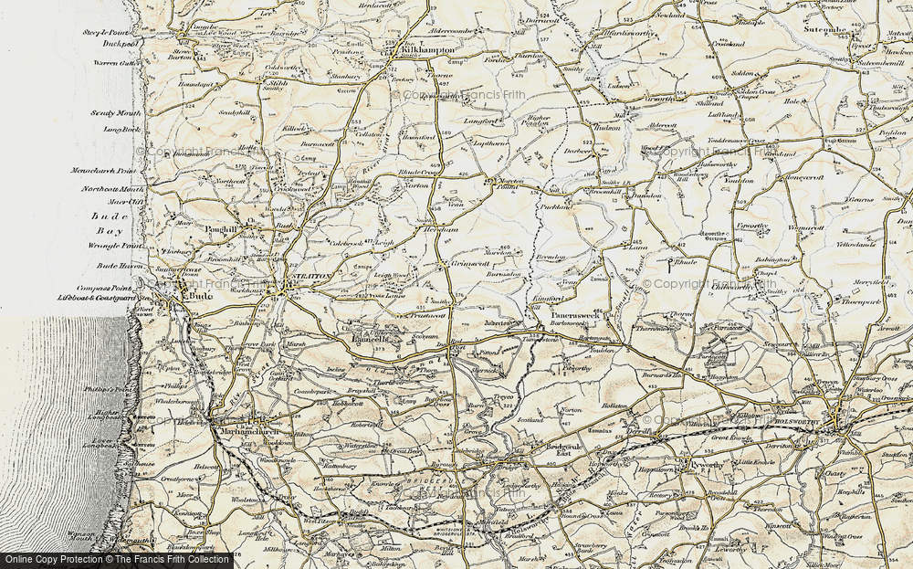 Old Map of Launcells Cross, 1900 in 1900