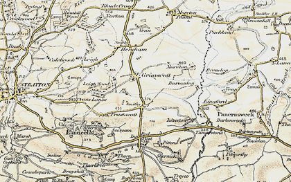 Old map of Launcells Cross in 1900