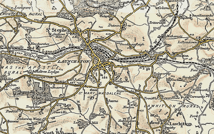 Old map of Launceston in 1899-1900