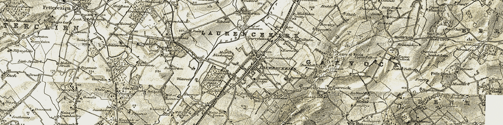 Old map of Laurencekirk in 1908