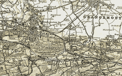 Old map of Laurieston in 1904-1906