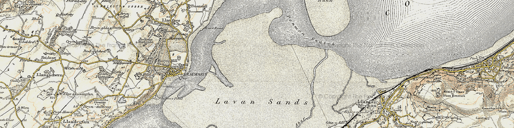 Old map of Lavan Sands in 1903-1910