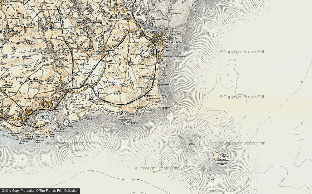 Old Map of Historic Map covering Lavernock Point in 1899-1900