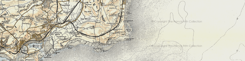 Old map of Lavernock in 1899-1900
