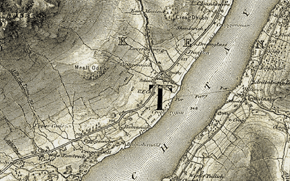 Old map of Allt an Tuim Bhric in 1906-1908