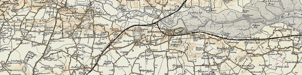 Old map of Aldhams in 1898-1899