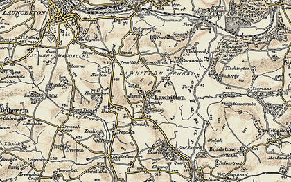 Old map of Lawhitton in 1899-1900