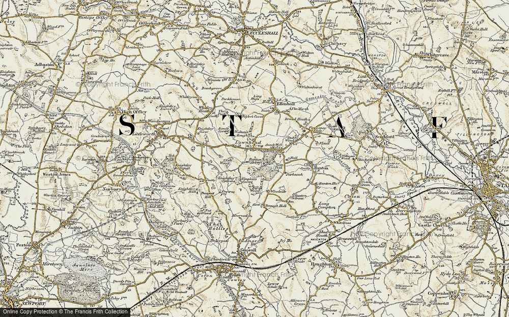 Old Map of Lawnhead, 1902 in 1902