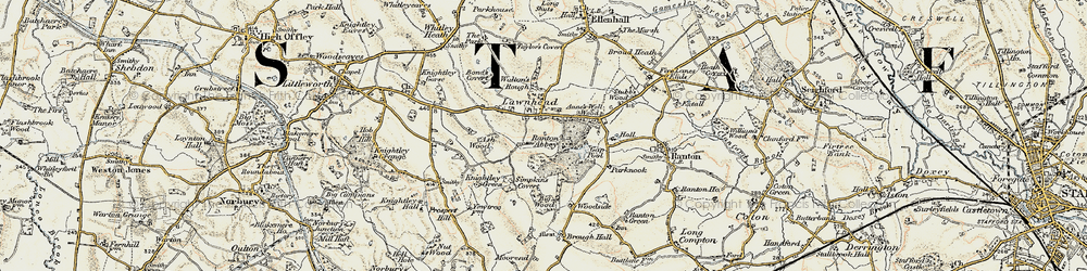 Old map of Lawnhead in 1902