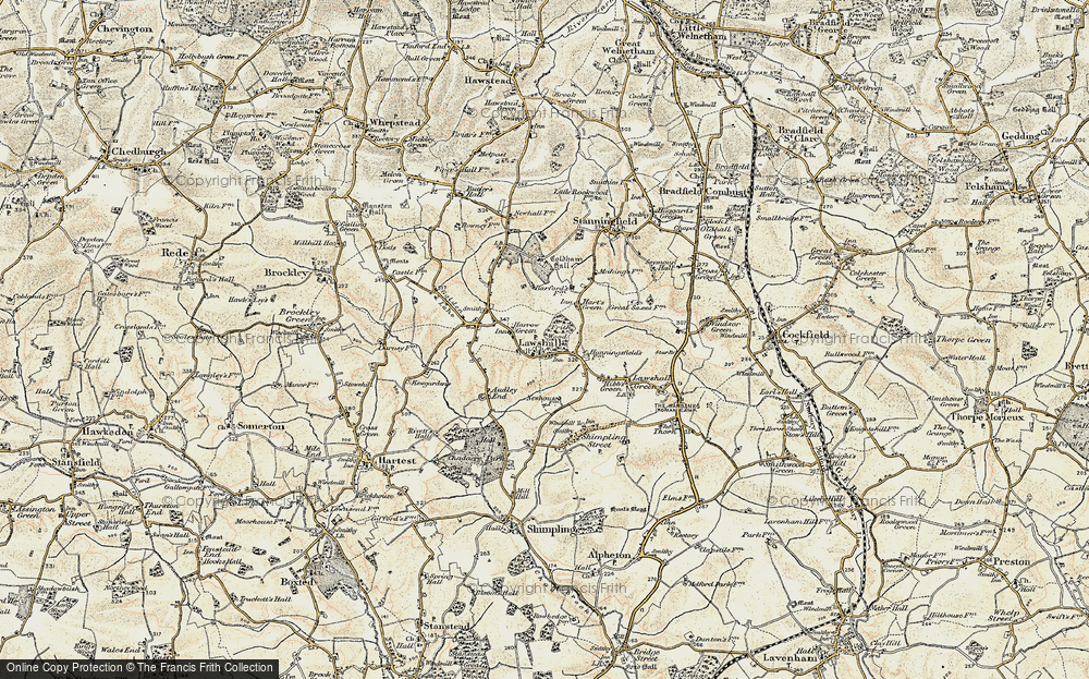 Old Map of Historic Map covering Barfords in 1899-1901