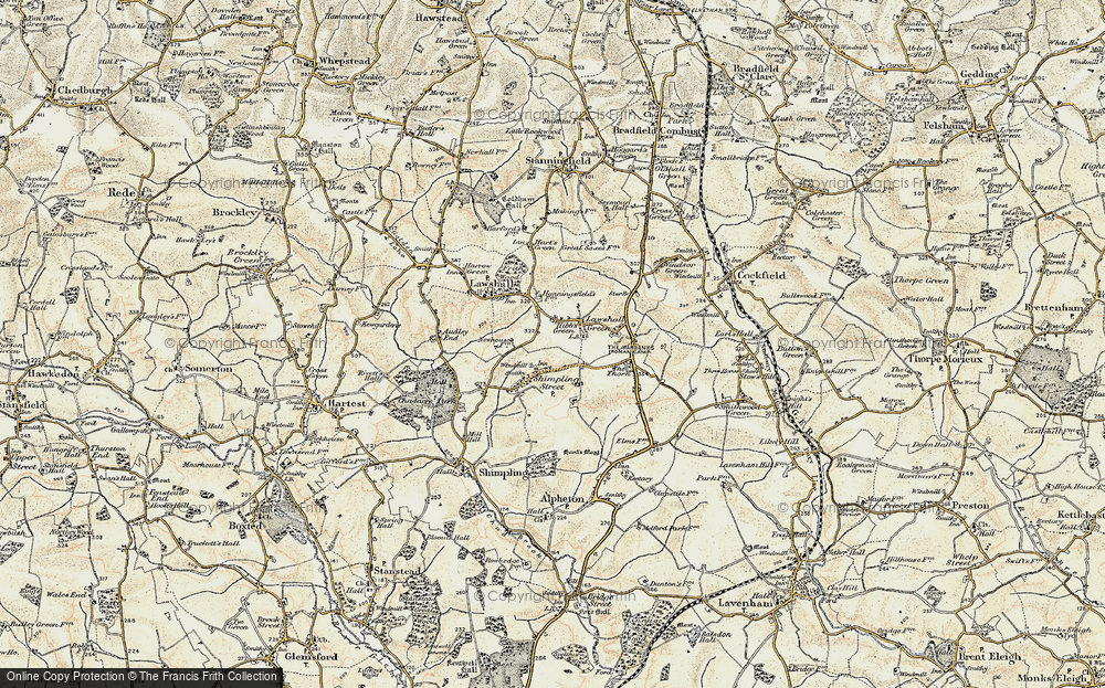Old Map of Lawshall Green, 1899-1901 in 1899-1901