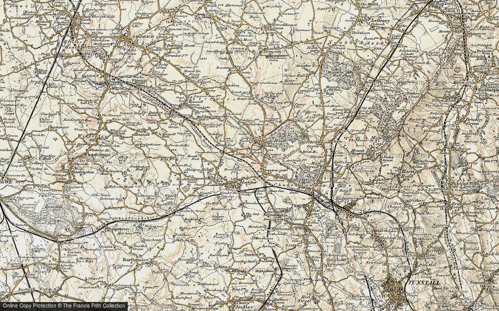 Old Map of Historic Map covering Lawton Heath in 1902-1903