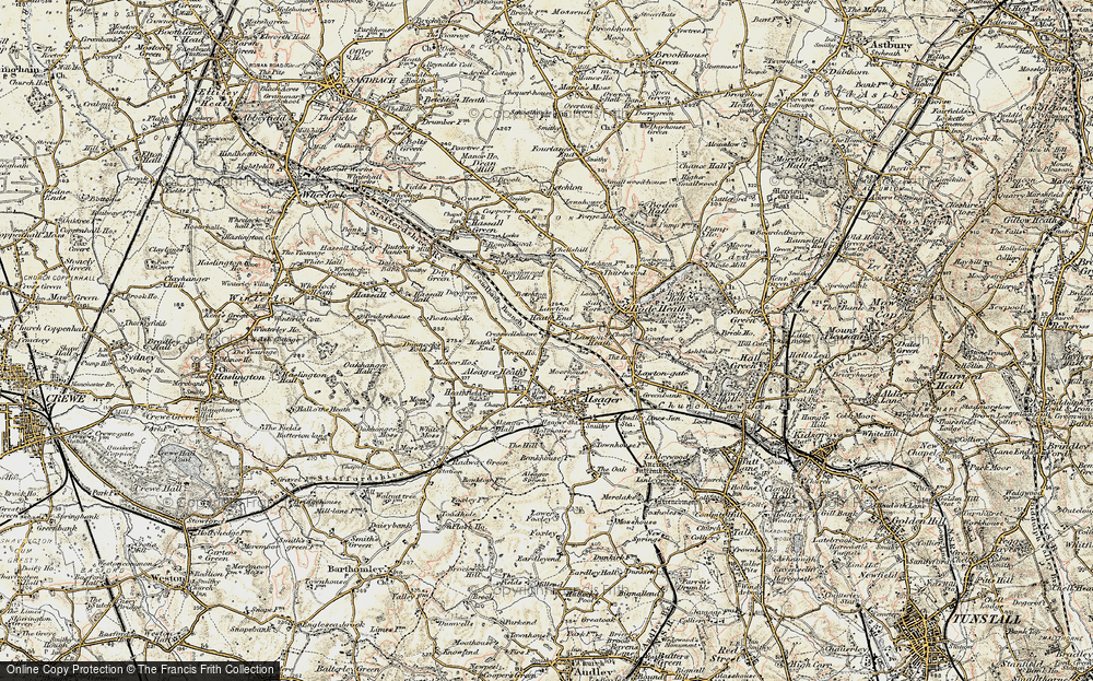 Old Map of Lawton Heath End, 1902-1903 in 1902-1903