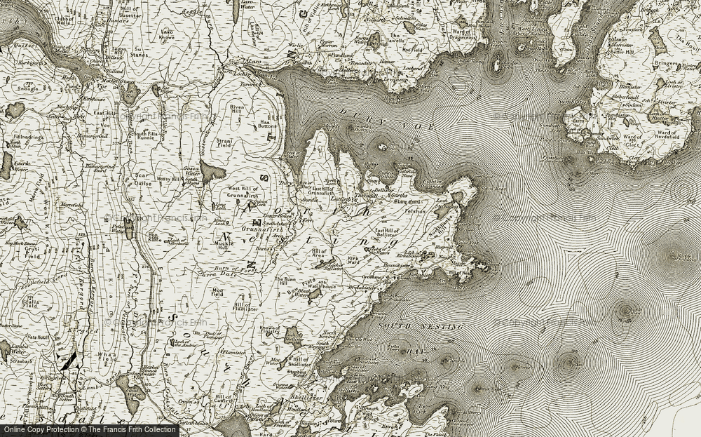 Old Map of Laxfirth, 1911-1912 in 1911-1912