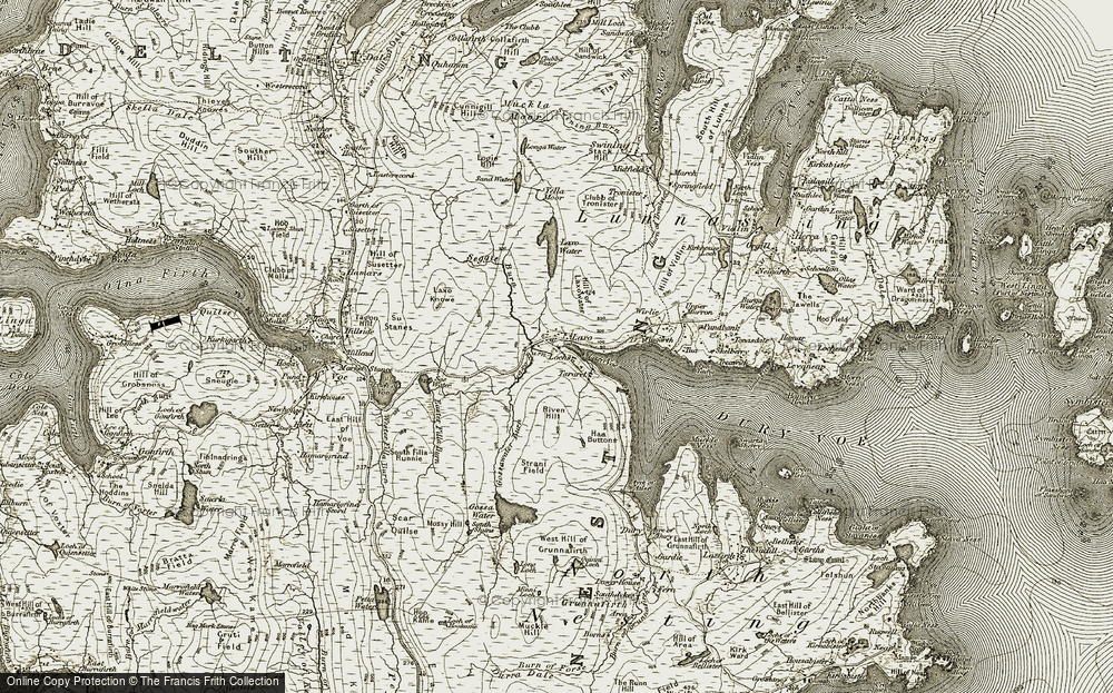Old Map of Historic Map covering Laxo Voe in 1911-1912