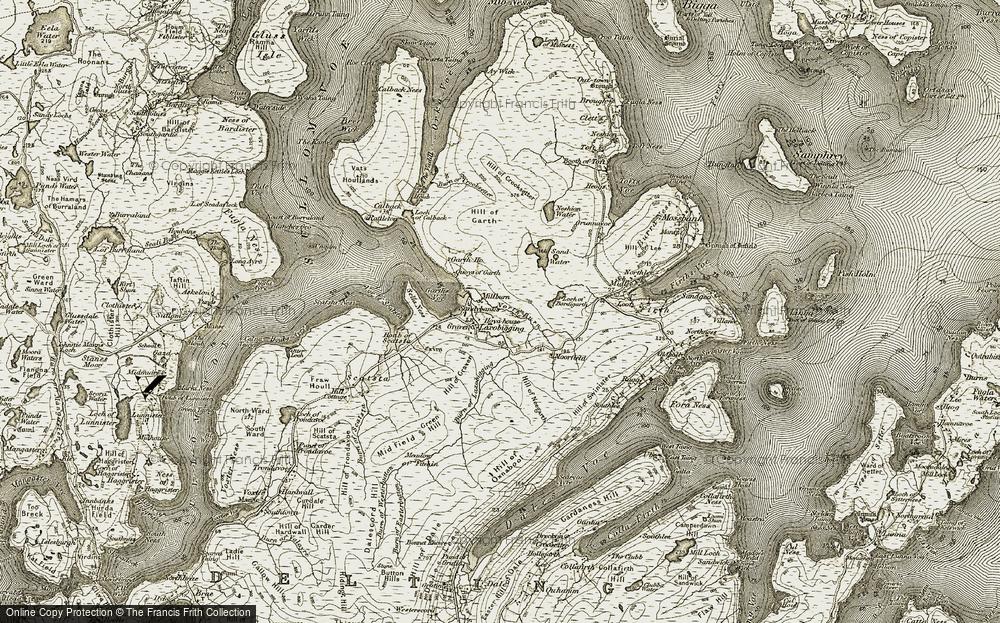 Old Map of Laxobigging, 1912 in 1912