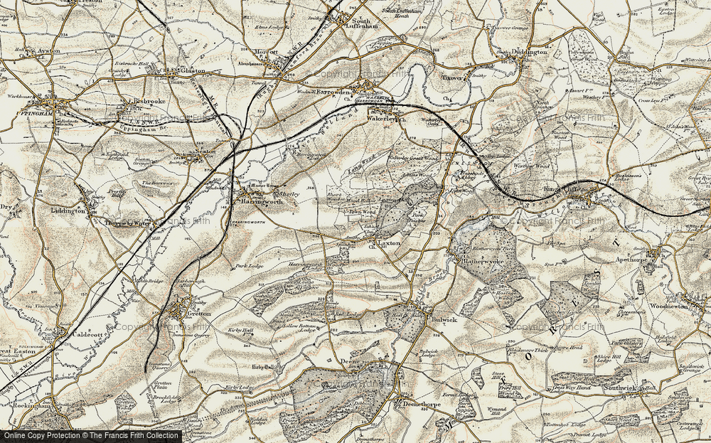 Old Map of Historic Map covering Adams Wood in 1901-1903