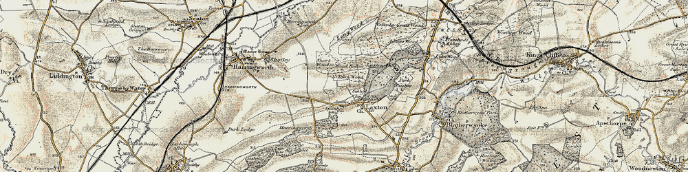 Old map of Laxton in 1901-1903