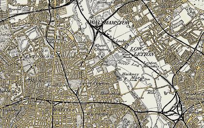 Old map of Lea Bridge in 1897-1898