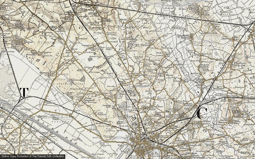 Old Map of Lea by Backford, 1902-1903 in 1902-1903