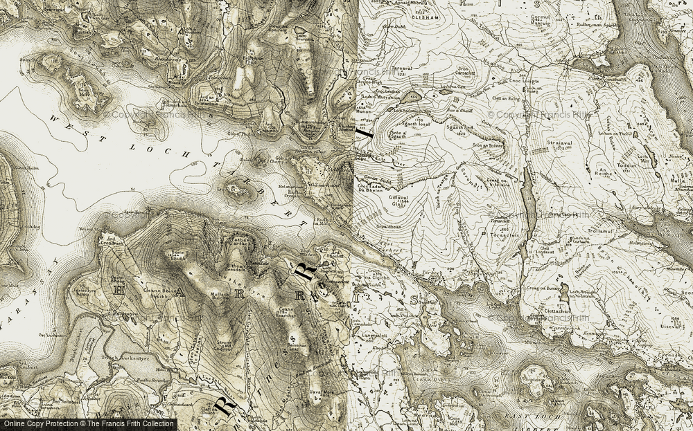 Old Map of Leacainn, 1908-1911 in 1908-1911