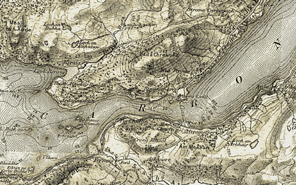 Old map of Bad a' Chreamha in 1908-1909