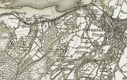 Old map of Leachkin in 1908-1912