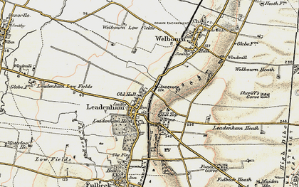 Old map of Leadenham in 1902-1903