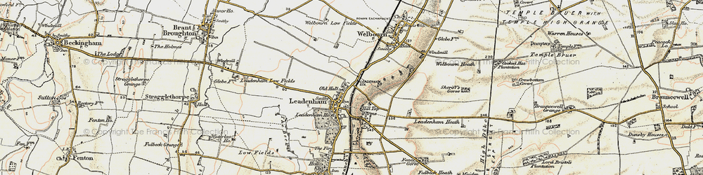 Old map of Leadenham in 1902-1903